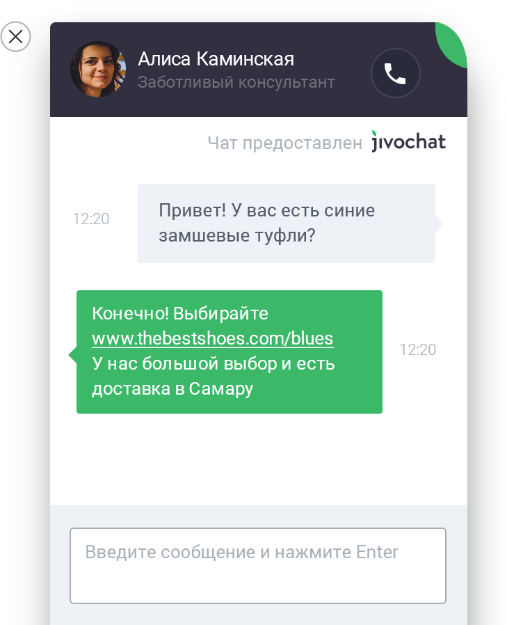 Screenshot Chat Widget RU